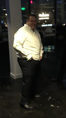 Large man dancing